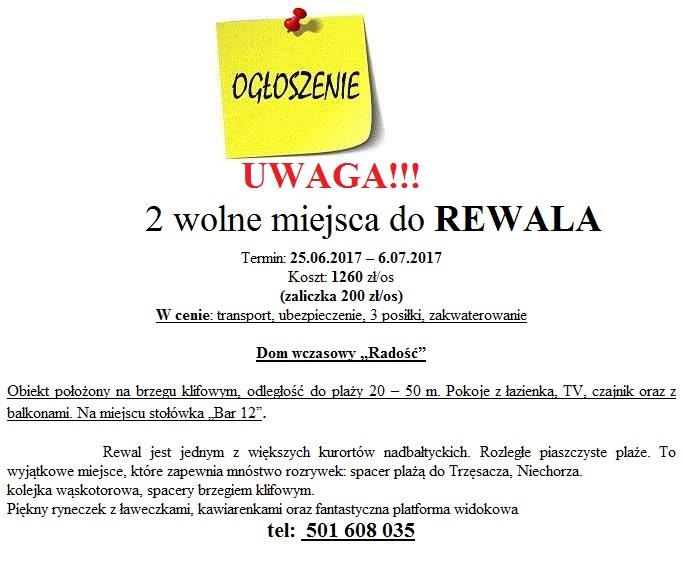 REWAL 2 WOLNE MIEJSCA